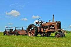 Tractor and manure spreaders Royalty Free Stock Images