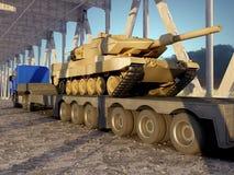 Tractor met een tank stock illustratie