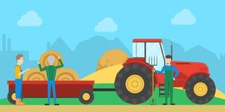 Tractor met hooiberg stock illustratie