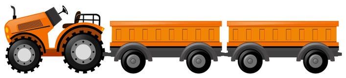 Tractor met twee karren vector illustratie