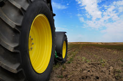 Tractor - modern agriculture equipment. Tractor on the farm - modern agriculture equipment in field stock image