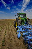 Tractor - modern agriculture equipment. Tractor on the farm - modern agriculture equipment in field stock photography