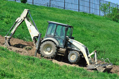 Tractor modified as excavator Royalty Free Stock Image