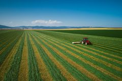 Tractor mowing green agriculture field, aerial drone view stock images