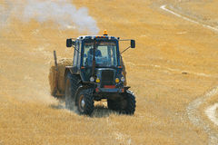 Tractor mows in a field Stock Images