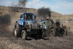 Tractor mud racing Stock Image