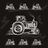 Tractor op achterachtergrond Royalty-vrije Stock Foto