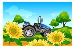 Tractor op gebied royalty-vrije illustratie