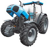 Tractor with open hood. Detail vector image of modern blue tractor with open hood, isolated on white background. File contains gradients and transparency. No stock illustration