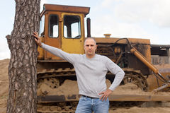 Tractor operator at workplace Stock Photo