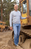 Tractor operator at workplace Royalty Free Stock Images