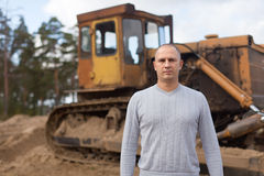 Tractor operator at workplace Royalty Free Stock Photos