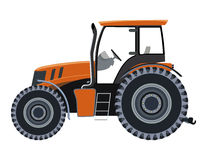Tractor. Orange tractor a side view on white background vector illustration