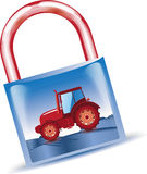 Tractor in padlock Stock Image
