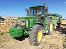 Tractor parked at Barca village, Soria. Stock Image