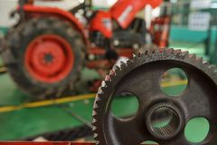 Tractor Assembly Plant. Tractor part of the combine at the plant awaits assembly, tractors and agricultural machinery, maintenance and exports royalty free stock images