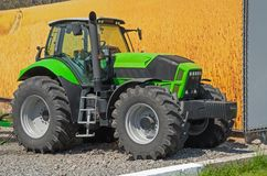 Tractor. Photo of the machine at the annual agricultural exhibition of farm machinery Royalty Free Stock Photography