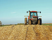 Tractor on Pile of Cornstalks Stock Image