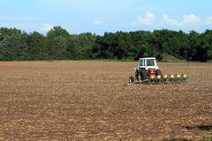 Tractor Planting The Field Royalty Free Stock Image