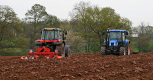 Tractor  ploughing Stock Photography