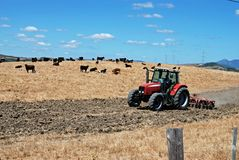 Tractor ploughing field, Andalusia, Spain. Royalty Free Stock Images
