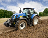 Tractor Ploughing Front View Stock Image