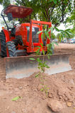 Tractor ploughing tree Stock Photos