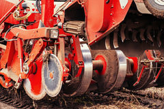 Tractor ploughing up the field. Stock Photo