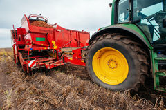 Tractor ploughing up the field. Stock Photography
