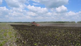 Tractor plow land. stock video