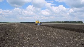 Tractor plow land. stock video footage
