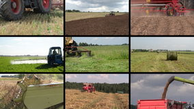 Tractor plow spray field, cut grass, harvest wheat. Clip collage stock footage