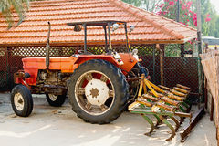 Tractor with a plow Royalty Free Stock Photography