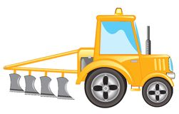Tractor with plow. Yellow tractor with plow on white background is insulated Stock Images