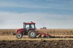 Tractor plowing field Royalty Free Stock Photos