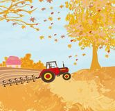 Tractor plowing field in autumn. Vector Illustration Royalty Free Stock Photo