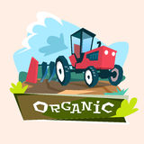 Tractor Plowing Field Eco Farming Concept. Flat Vector Illustration Stock Photos