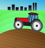 Tractor plowing the field. Vector illustration of tractor plowing the field Stock Photos