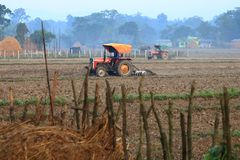 Tractor plowing a rice field in Nepal royalty free stock images