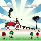 Tractor plowing the soil. Abstract colorful illustration with tractor plowing the soil Stock Image