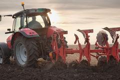 Tractor Plowing in Sunset Stock Images