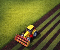Tractor plows a field. 3d illustration of tractor plows a field Stock Photography