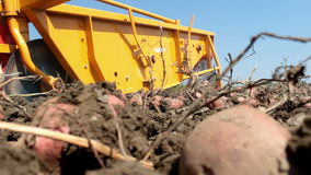 Tractor and potato harvester stock video footage