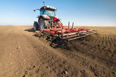 Tractor preparing land Royalty Free Stock Image