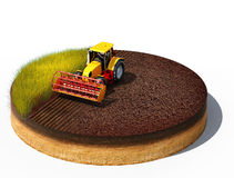 Tractor preparing land for sowing. 3d illustration of tractor preparing land for sowing. Cross section of ground isolated on white background Royalty Free Stock Photo