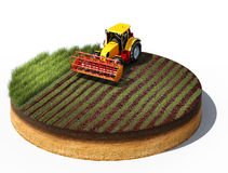 Tractor preparing land for sowing. 3d illustration of tractor preparing land for sowing. Cross section of ground isolated on white background Royalty Free Stock Image