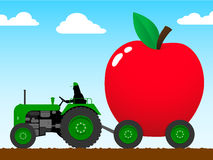Tractor pulling a huge apple. Tractor pulling a huge red apple stock illustration