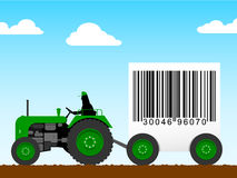 Tractor pulling a huge bar code Stock Photography