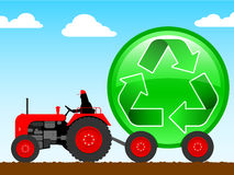 Tractor pulling a huge recycle icon. Sky background vector illustration
