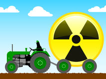 Tractor pulling radioactive icon Stock Photography